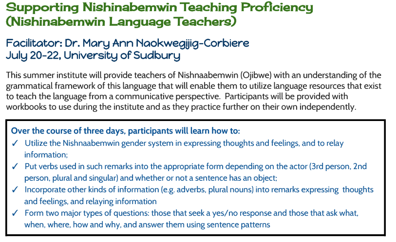Supporting Nishinabemwin Teaching Proficiency (Nishinabemwin Language Teachers) pic 1